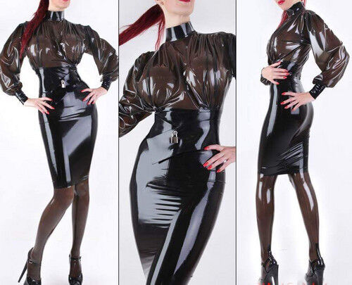 0.4mm Latex Skirt Rubber Chest Stitching Smoke Gray and Black Dress Size S-XXL