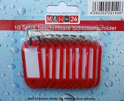 10 Schlüsselanhänger zum Beschriften Schlüsselschilder Anhänger Etiketten rot
