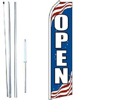 Open Patriotic Swooper Flag With Complete Hybrid Pole Set