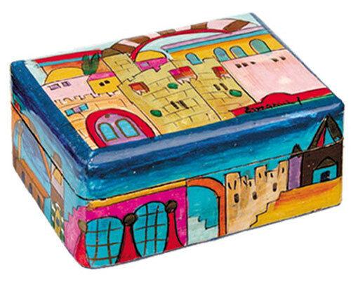 Jerusalem Jewelry Box - Hand Painted - Made in Israel - Judaica Jewish Art Gift