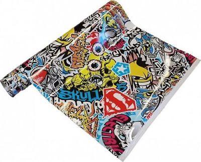 21€/m² Stickerbomb Folie - Skull bunt 30 x 152 cm Aufkleber Sticker JDM Sammlung