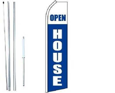Open House White Swooper Flag With Complete Hybrid Pole Set