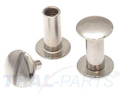 100 Stück Buchschrauben 12mm Silbern Chicagoschrauben Buchnieten Gürtelschrauben
