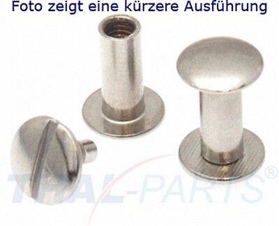 100er Pack Buchschrauben Chicagoschrauben 20mm Kopf 10mm Silbern