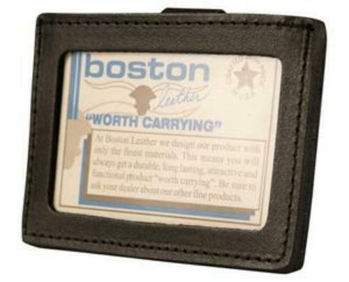 Boston Leather ID Holder Black Horizontal Clip On Steel Spring Clip 5983-1