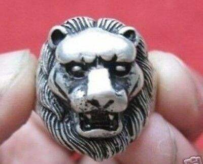 Wonderful Tribal Tibet silver carved lion fashion ring and special gift added