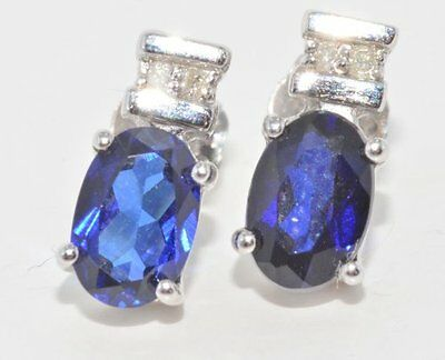 - 1 Ct Blue Sapphire 6x4mm Oval Diamond Stud Earrings White Gold Silver