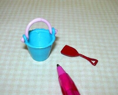 Miniature TURQUOISE Beach Pail w/PINK Handle + Red Metal Shovel: DOLLHOUSE 1:12](Red Beach Pail)