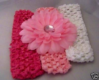 Hot Pink Gerber Daisy (baby or girls LOT gerber DAISY FLOWER HAIR BOW 3 HEADBANDS pink HOT PINK)