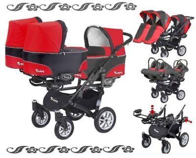 Triple Triplets Kinderwagen Buggy BabyActive Trippy Drillinge 3 autositz 3 wiege ()
