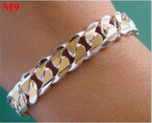 UK wholesale Solid Silver S925 Mens Silver Jewelry 18K Gold Chain Bracelet + Box