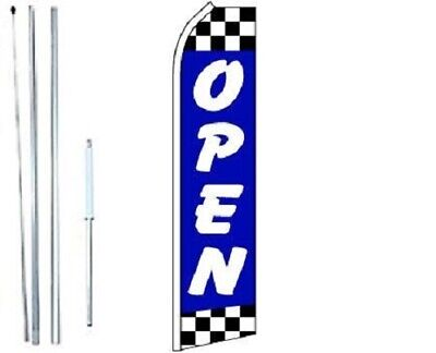 Open Blue Checkered Swooper Flag With Complete Hybrid Pole Set