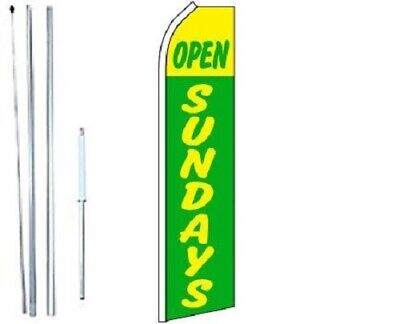 Open Sundays Green Yellow Swooper Flag With Complete Hybrid Pole Set