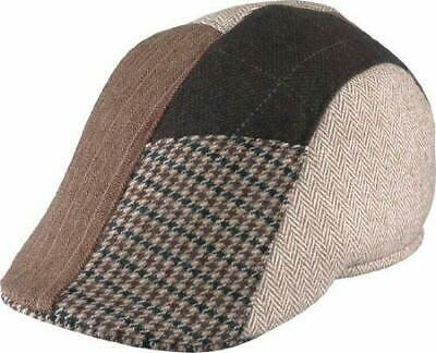Henschel 8520-75XL Duckbill Brown Italian Patchwork Elastic Cap Hat Large L Rare