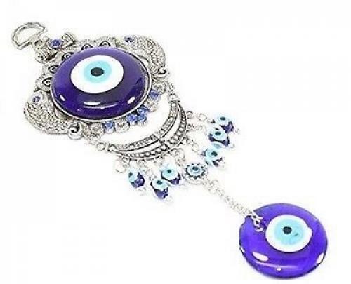 "Evil Eye Wall Hanging Decor Amulet Protection Charm Turkish Design Blue 9""Length"