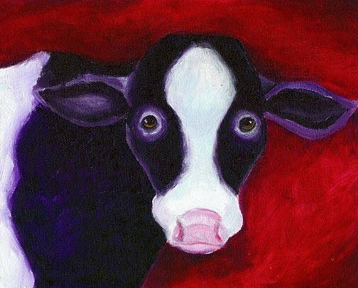 PURPLE COW 8x10 Farm Animal Pop Art PRINT of Original Oil Painting by Vern