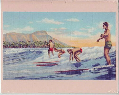 "SURFERS AT WAIKIKI BEACH 1920s HAND COLORED B&W TO GICLEE PHOTO ON 8X10"" MATT"