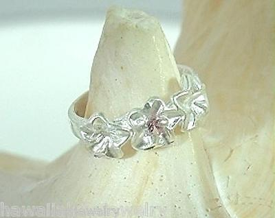 6mm Hawaiian Solid 925 Sterling Silver DC 3 Plumeria Pink Sapphire CZ Toe Ring