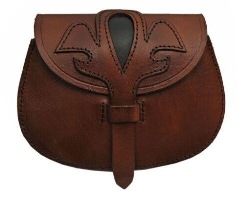 Medieval Fleur Leather Belt Bag Pouch SCA LARP Renaissance Cosplay Mountainman