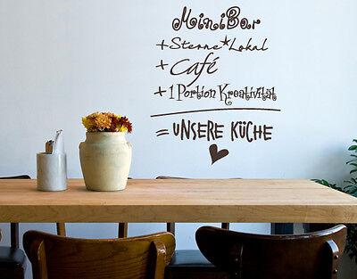 Wandtattoo Unsere Küche Café Kaffee Wandaufkleber Bar Restaurant Kochen wal164
