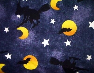 Halloween Which on a Night Sky fabric quilt & craft FQ](Which Halloween)
