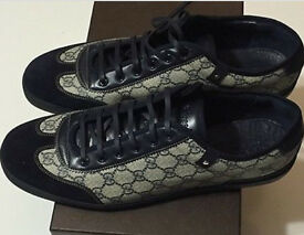 GUCCI leather and suedeTrainers in blue, Brand New. Size 11