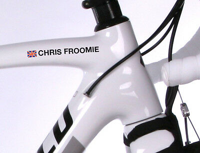 4x PERSONALISED BIKE NAME STICKERS ROAD CYCLE CYCLING FRAME DECALS