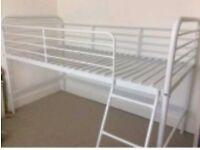 Next white metal mid sleeper single bed frame