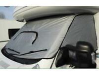 Motorhome external wrap around screen blinds silver