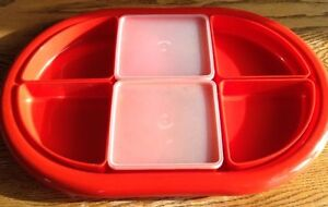 VINTAGE HORS D'OEUVRES TRAY 6 COMPARTIMENTS ET 2 COUVERCLES NEUF