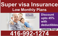 Super Visa/Travel insurance at low mnthly plan call 416.992.1274
