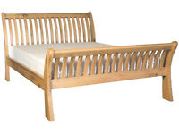 KING SIZE - SOLID Seville Oak Sleigh Bed - VERY STRONG AND GENUINE OAK WOOD!!