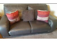 DFS dark brown real leather 3 piece suite