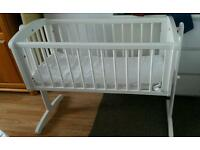 Mothercare White Cot Crib Baby Bed and Mattress