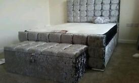 Crushed velvet bed ottoman box and mattress