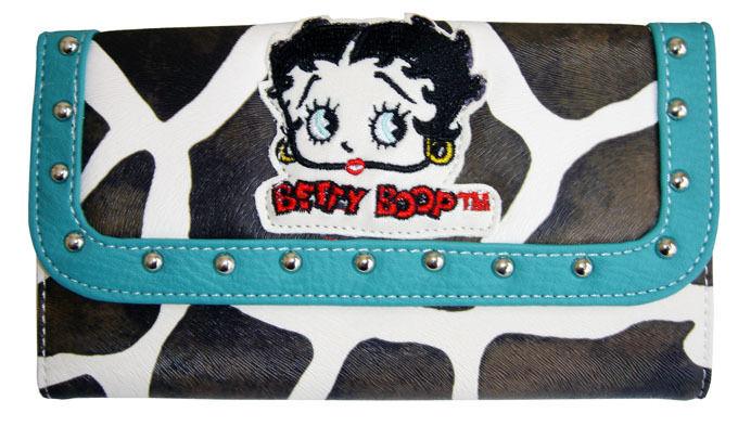 Licensed BETTY BOOP Giraffe Wallet Turquoise Color + Checkbook  holder