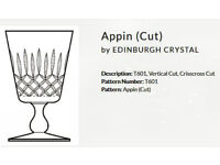 Vintage Edinburgh Crystal Claret Glasses, Appin Pattern, Hand Made.