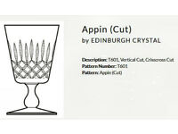 Vintage Edinburgh Crystal Whisky Glasses, Appin Pattern, Hand Made.