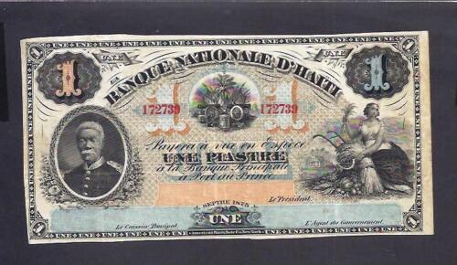 Haiti p-70 , VF, 1 Piastre, 1875