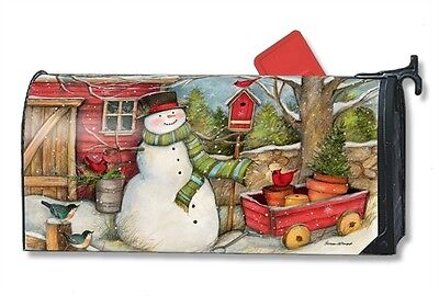 Red Barn Snowman Mail Box Wrap Magnetic Holiday Winter Mailwrap Mailbox Cover