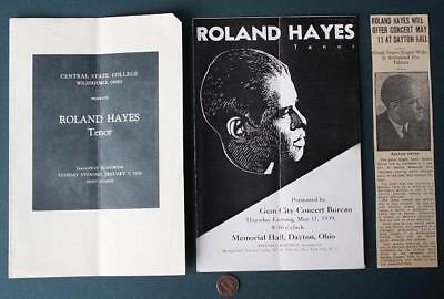 1939-1958 Dayton-Wilberforce Ohio Theatre Negro Tenor Roland Hayes 3-program set