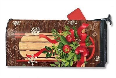 Mountain Cabin Sled Mail Box Wrap Magnetic Mailwrap Mailbox Cover