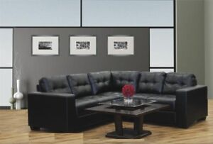 Contemporary 3 pc Sectional in Black Bonded Leather.