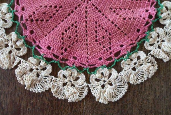 Vintage Pink Pansies Crochet Lace Plate Doily Raised Flowers 10""