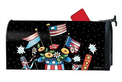 Patriotic Hat Flags Mailwrap Mail Box Wrap Magnetic Mailbox Cover Standard