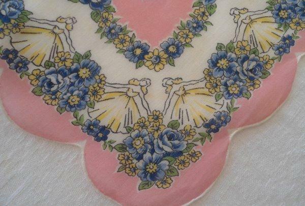 Vintage Printed Hanky Bride Gown Pink Blue Floral Hand Rolled Wedding?