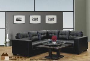 CLEARANCE SALE, 3Pc Black bonded leather sectional