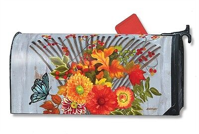 Time To Rake Mail Box Wrap Fall Garden Chore Magnetic Mailwrap Mailbox Cover