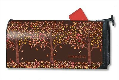 Thankful Mail Box Wrap Gratitude Leaves Fall Magnetic Mailwrap Mailbox Cover
