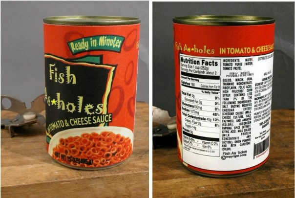 Fish Ass Holes in Tomato Sauce Label Funny Christmas Stocking Stuffer Gag Gift!!